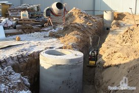 Установка бетонных канализационных колец