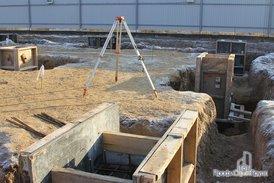 Заливка бетоном опор фундамента